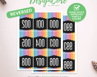 Facebook Live Sale Reversed Mirrored Number Tag, 000 - 999, Home Office Approved, Colors on Black, Instant Download, Print, Fashion DCLST004