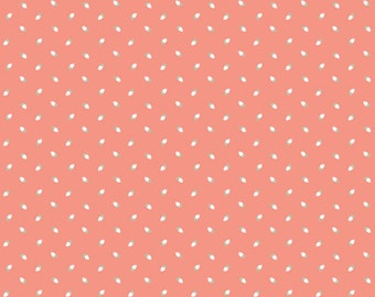 Rosebud Fabric, Riley Blake Sew Charming C4546 Coral, Bo Bunny, Coral Rosebuds Quilt Fabric, Peach With White Rosebuds, Cotton