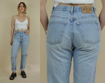 90s Distressed GAP Denim Jeans // 90s High Waisted Denim // 90s Mom Jeans // Vintage GAP Jeans // USA Made // 30 x 30 in.
