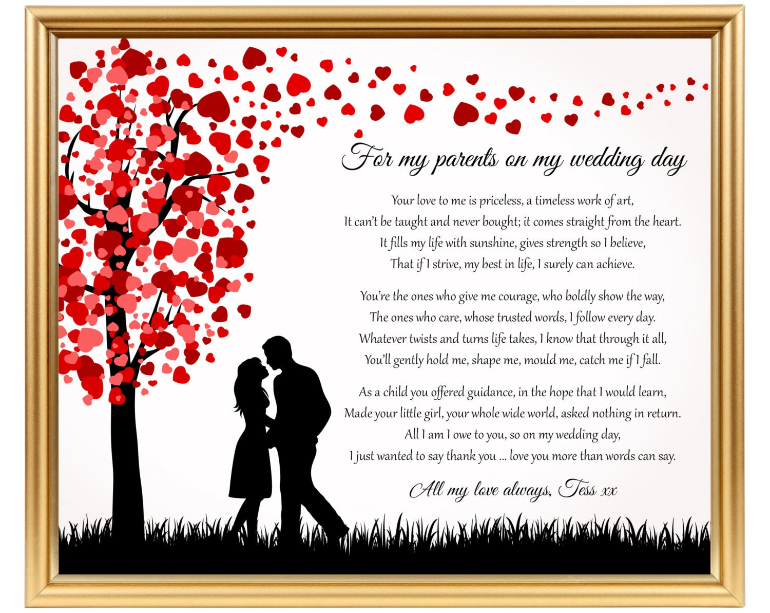 Bride Gift To Her Parents Wedding Day Poem Gift To Mom On