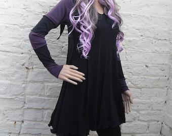 Pixie Hooded Stripy Dress ~ Gothic ~ Goth ~ Pastel Goth ~ Grunge ~ Fae ~ Pixie ~  Sizes 6 to 30 ~