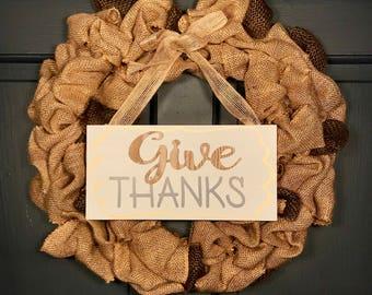 "18"" Burlap ""Give Thanks"" Wreath ~ Elizabeth"