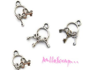 Set of 5 charm Keychain silver embellishment scrapbooking *.