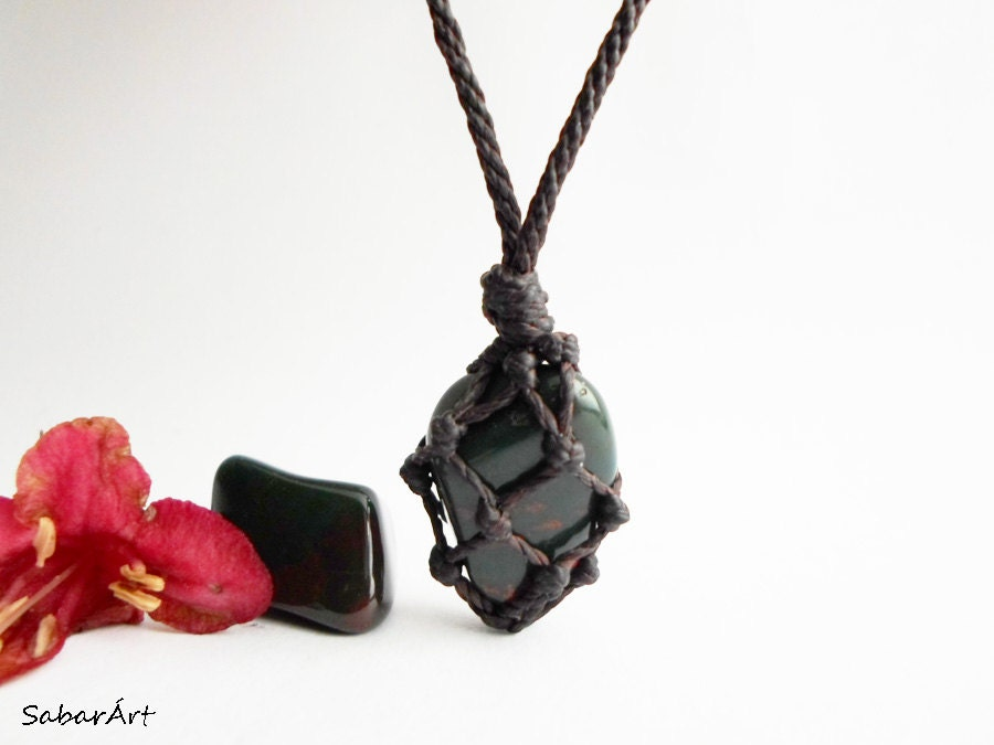 Bloodstone pendant mans necklace gift for him blood zoom mozeypictures Images