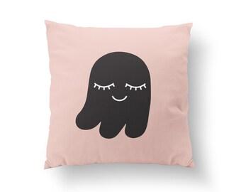 Ghost Pillow, Kids Pillow, Home Decor, Cushion Cover, Throw Pillow, Bedroom Decor, Bed Pillow, Decorative Pillow, Nursery Decor, Happy Art