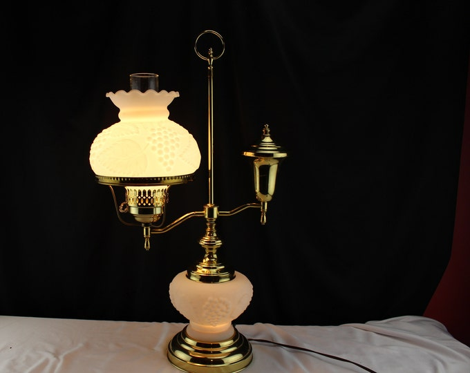 Vintage Electric Single Arm Student Lamp White Embossed Westmoreland Glass Shade