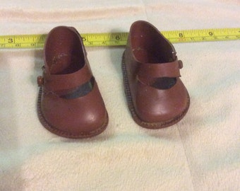 """Vintage Tagged Cinderella No 3 Brown Side Button Mary Jane Style Doll  Shoes 3"""""""