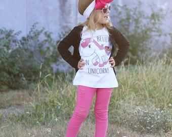 Believe in unicorns quote Children's Toddler Tshirt. Sizes 2T, 3t, 4t, 5/6T funny graphic kids shirt gift, kids unicorn shirt