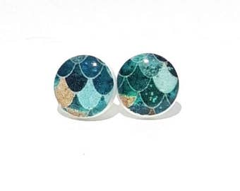 Teal and Gold Mermaid Post Earrings