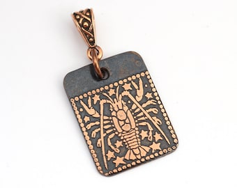 Cancer zodiac pendant, small flat rectangular etched copper crab horoscope, optional necklace, 25mm