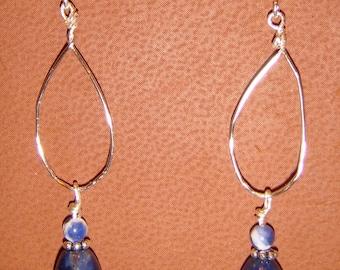 Sodalite Blue and Sterling Silver Pierced Earrings