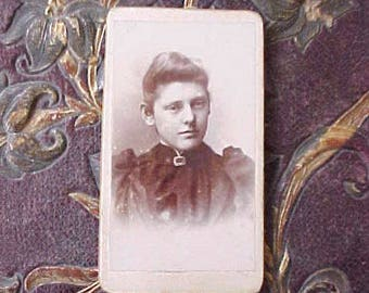 Sweet Little Victorian Sepia Toned Photograph of Young Girl