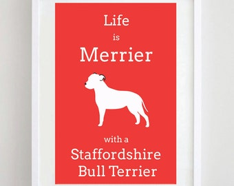 Staffordshire Bull Terrier Print - Staffie - Dog Poster - Dog Art - Dog Picture - Dog Breed