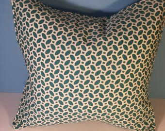 """18x18"""" OUTDOOR Corded Pillow Cover - Teal Ovals 18"""" Square"""
