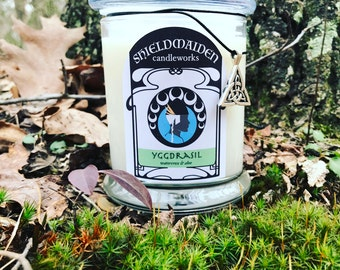 """Watercress and aloe scent soy candle """"Yggdrasil"""" 12oz Viking Natural Soy jar Candle With Lid Shieldmaiden Candleworks"""
