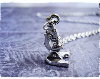 Silver Microscope Necklace - Silver Pewter Microscope Charm on a Delicate Silver Plated Cable Chain or Charm Only