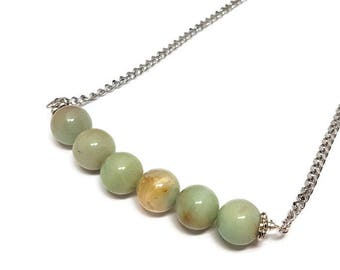 Amazonite Bar Necklace-Stainless Steel Chain-18 inch-Fashion Accessory-Gemstone Jewelry-Minimalist Style-Gift for Her-Dainty Simple Chic