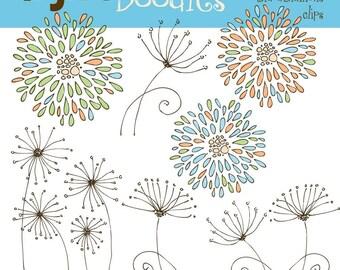 KPM crysanthimums and dandilions aqua digital clip art