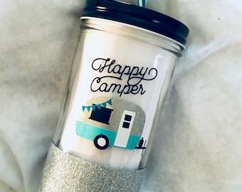 Happy Camper Glitter Mason Jar Tumbler