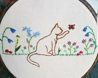 Kitty in the Garden Hoop Art