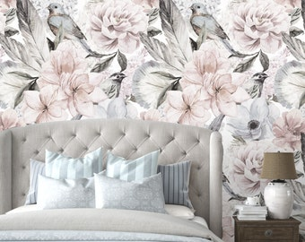 Floral Wallpaper -  Neutral Flowers Self Adhesive Fabric Wallpaper -  Removable, Repositionable, Reusable. EASY PEEL & STICK !! R0016