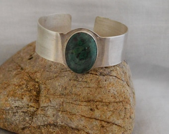 Green Chrysocolla Malachite & Fine Silver Bracelet