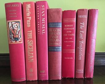 Vintage Book Shelf Decor Books Decorative Books Antique Books Old Books Red Decor Red Books Set of Books Book Decor Vintage Book Lover Gift