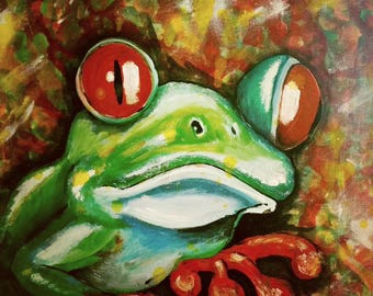 Fancy, original painting, acrylic painting, frog art, frog, home decor, nature
