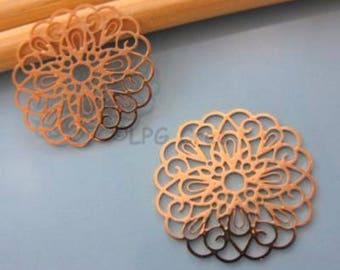 Prints 2 stylized filigree copper clear - diameter 20mm # S72