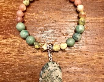 Lepidolite Ching Hai Jade and Serpentine Bracelet.