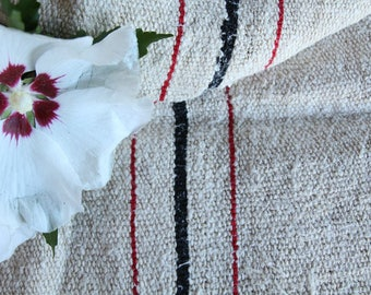 E 513: grainsack, antique linen,STRAWBERRY RED and BLACK;  benchcushion;wedding decoration;upholstery project,vintage,gift bag 48.82 long