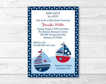 Cute Sailboat Baby Shower Invitation / Sailboat Baby Shower Invite / Nautical Baby Shower / Navy & Red / Baby Boy Shower / Printable A384