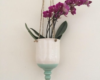 """Hanging Pottery Planter, 4"""" Hanging Flower Pot, Orchid Pot, Succulent Pot, in Stock, Ready to Ship"""