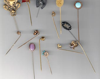 Job Lot of 14 Various Antique or Vintage Stick Pins or Tie Pins   -- Free Shipping!