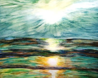 Instant Download Art, watercolor, ocean, sunset, shades of green, Florida, contemporary, downloadable art