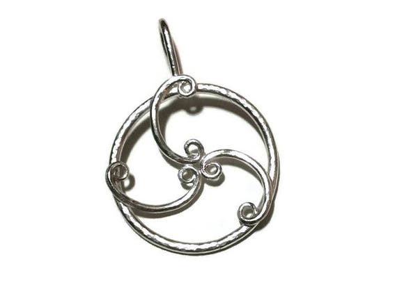 Solid silver forged triskele motif pendant