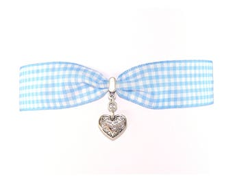 Choker chain Oktoberfest Vichy-check with blue heart