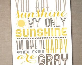 you are my sunshine printable typography poster, nursery decor, Printable art, nursery wall art, nursery poster, printable 8x10 - sunshine