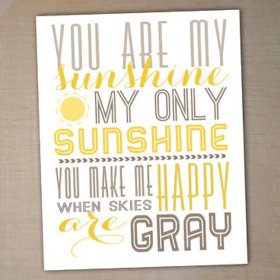 You Are My Sunshine Printable Typography Poster Nursery