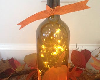 Hand Painted Pumpkin Wine Bottle with Lights