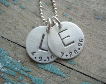 Personalized jewelry, initial with date discs necklace, hand stamped sterling necklace, mom necklace,  initial jewelry, monogram necklace