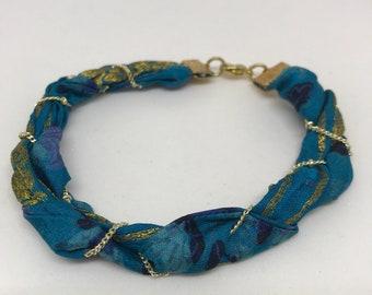 Vintage Sari Silk Braided Bracelet