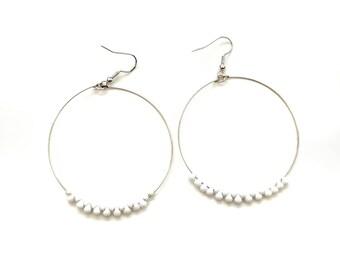 White Hoop Earrings - White Bead Hoop Earrings - Bridesmaid Hoop Earrings - Large Silver Hoop Earrings - Gift for Her - Boho Hoop Earrings
