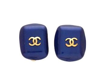 Authentic vintage Chanel earrings Blue faux pearl stone CC logo #ea2014