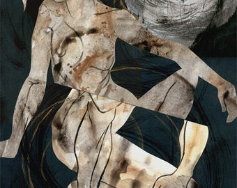 Figurative Collage I, mixed media, figure drawing, collage, texture, original art