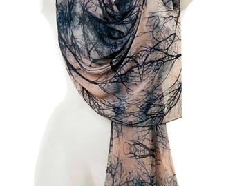 Tree Scarf, Branches Shawl, Art shawl, Oversized shawl and wrap, Chiffon Soft scarf, Unique scarf, Photo scarf, Luxury gift, Gift for her