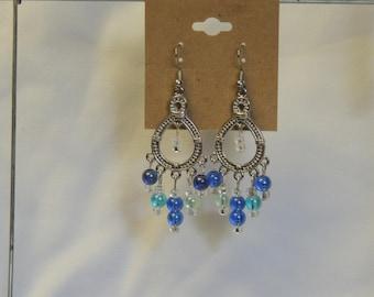 Blue Bead Chandelier Earrings