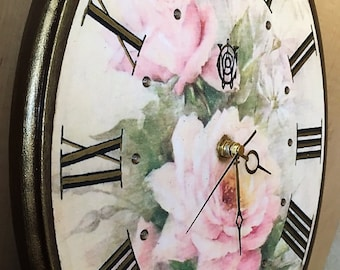 Large Wall Clock, Wood, Vintage Style Wall Clock, French Country Wall Decor, Unique Wall Clock PINK ROSES