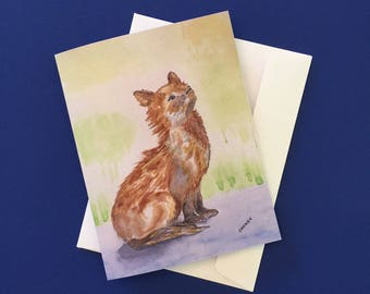 Sassy Baby Fox.  Watercolor print note card with envelope.
