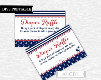 Instant Download Red and Navy Nautical Baby Shower Party Diaper Raffle cards Baby shower DIY Printable (NMOSI001)